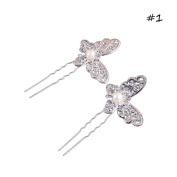 Say Hello New Pearl Hair Jewellery Headwear Charm Silver Plated Butterfly U Shape Hairpin Hair Sticks For Bridal Wedding Accessories