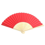 Kofun Hand Folding Fan Favours, Hand Held Bamboo Fabric Chinese Bamboo Fan Folding Perfect Christmas Party Favour Wedding Dancing Party Prom Decor Red