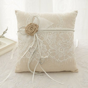 Anne as Handmade Wedding Ring Pillow with Hessian Jute Flowers Eyelash Lace