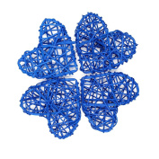 Rattan Heart Craft Art for Christmas Birthday Party & Home Wedding Party Wedding Party Ornaments 7cm-Royal Blue Pack of 20