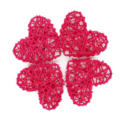 Rattan Heart Craft Art for Christmas Birthday Party & Home Wedding Party Wedding Party Ornaments 7cm-Rose Red Pack of 20