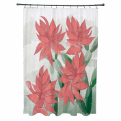 Christmas Cactus Floral Print Shower Curtain
