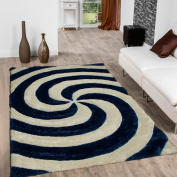 Allstar Blue Shaggy Area Rug with 3D Spiral Design. Contemporary Formal Casual Hand Tufted