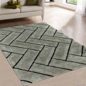 Allstar Grey Shaggy Area Rug with 3D Design with Black Lines. Contemporary Formal Casual Hand Tufted
