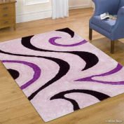 Allstar Purple Shaggy Area Rug with 3D Black Lines Design. Contemporary Hand Tufted