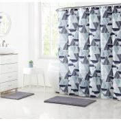 Clairebella Multi-Colour Modern Geometric Mosaic 15 Piece Shower Curtain Bath Set, Shower Curtain Hooks and Bath Rugs Included