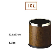 Trash Home Living Room Without Cover European Hotel Small Creative Stainless Steel Bathroom Kitchen Tube , Brown