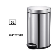 Trash Stainless Steel Foot Household Living Room Bathroom Toilet European Covered Mute Creative Tube , Silver , 5L