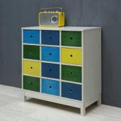 LARISSO Storage Unit Wood / MDF, 8 coloured drawers