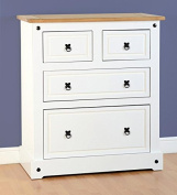 4 Drawer White Chests of Drawers with Waxed Pine top.