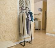 ZJM- Coat Stand Metal Hallstand Floor Type Floor Type Assembled Clothes Tree Black