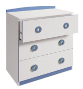 Polini Kids Simple Collection Drawer Unit, Number 3090, White/Blue