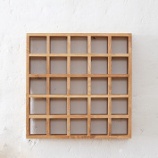Amour Lighting 56*10*56 Cm Simple Environmental Protection Wall Solid Wood Storage Grid 25 Grid Frame