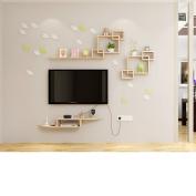 Amour Lighting Wall racks solid wood living room storage decorative frame creative grid combination