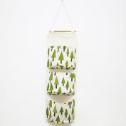 VENMO Linen Cotton Fabric Door Wall Mounted Storage Bags Closet Hanging 3 Storage Pockets Makeup Cosmetic Sundries Organiser Home Decor