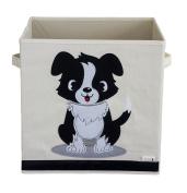 Sun Cat Storage Box / Cube / Organiser - Dog Design - Durable Reinforced Canvas Fabric - 33cm x 33cm x 33cm - Fits Multi Storage Shelves - The Perfect Animal Storage Box for Kids