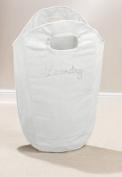Diamante Laundry Bag Washing Clothes Bin Foldable Storage Hamper Room Tidy-WHITE