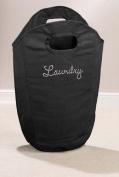 Diamante Laundry Bag Washing Clothes Bin Foldable Storage Hamper Room Tidy-BLACK