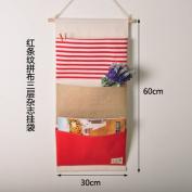 CUPWENH Multilayer Cotton Magazine Books Hanging Bag Bag Hanging Cloth Bag Debris Storage Box,B