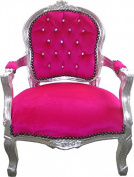 Casa Padrino Baroque Highchair Pink / Silver Bling Bling Rhinestones - Children's Furniture