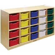 ECR4Kids 20-Tray Birch Storage Cabinet with Bins