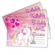 20 x Unicorn Kids Children's Birthday Party Invitations Invites Cards Girls