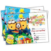 20 x Minions Kids Birthday Party Invitations Invites Cards Quality Girls Boys