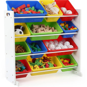 Tot Tutors Kids Toy Storage Organiser with 12 Plastic Bins, Multiple Colours