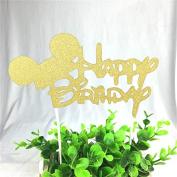 HAPPY BIRTHDAY CAKE PICK TOPPER DECORATION GLITTER CALLIGRAPHY
