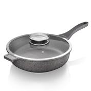 Tower Cerastone Saute Pan with Infuser, Aluminium, Grey, 52 x 29.3 x 13 cm