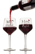 LIVIVO ® Pair of 2 Mr Right and Mrs Always Right Wine Glasses – Stylish and Attractive Large 400ml Stem Wine Glass Gift Set Box – Perfect Gift for Weddings, Anniversary, Engagements and Couples