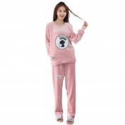 MOXIN Women's Sleepwear Fleece Coral Velvet Long Sleeve Pyjama Set Home Service Pink