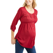 Oh! Mamma Maternity Button Up Roll Tab Sleeve Tunic