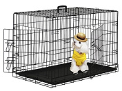 BestPet 110cm Wire Metal Folding Pet Dog Cage Crate Kennel W/2-doors w/ ABS Pla...