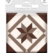 6 Cement tile stickers 15 x 15 cm - Grey and Brown