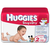 Huggies Baby Nappies, Snug & Dry, Size 2 (5.4-8.2kg), 42 ct