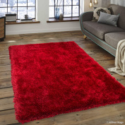 Allstar Red High Density and High Quality High End Shaggy Area Rug. Very Soft Extra comfort