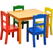 American Kids 5 Piece Wood Table and Chair Set, Multiple Colours