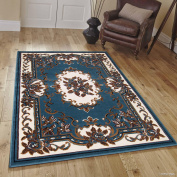 Allstar Blue Woven High Quality Rug. Traditional. Persian. Flower. Western. Design Area Rug