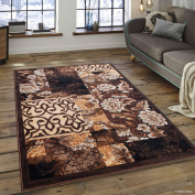 Allstar Chocolate Abstract Modern Area Carpet Rug