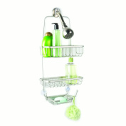 Over The Showerhead Two Tier Open Wire Shower Caddy With Soap Dish And 2 Hooks