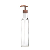 RAIL19 French Vessel Glass Soap Dispenser w/ Copper Modern Pump