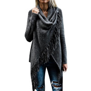 Women Fashion Solid Colour Tassels Wrap Sweater Coat Knited Poncho Loose Sweater Coat Outwear