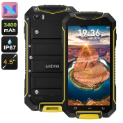 Geotel A1 Rugged Smartphone - Quad-Core CPU, Android 7.0, Dual-IMEI, 3400mAh, IP67, 4.5 Inch Display, 8MP Camera