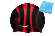 AQUA-SPEED® SET - BUNT Swimming Cap + Small Microfibre Towel | Colourful Bathing cap | Silicone | Swim Cap | Adults | Women | Men | Children