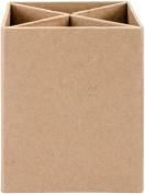 Paper - Mache Cross Box Pen Holder - 8.3cm x 8.3cm x 10cm