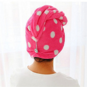 Women Girls Hair Wrap Head Towel Quick Dry Bath Twist Drying Cap Loop Button Hat