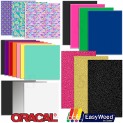 Oracal Vinyl and Siser EasyWeed Heat Transfer Starter Sample Pack - 20 Sheets
