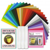 25 Sheets Oracal 651 Permanenet Vinyl Pack with How to Use Your Silhouette Guide