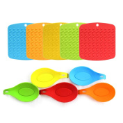 Umiwe Silicone Trivet Mat and Spoon Rest Multipurpose Kitchen Gadgets:Pot Holder, Hot Pads, Jar Opener, and Table Coaster - Heat Resistant & Dishwasher Safe - Bright Colours